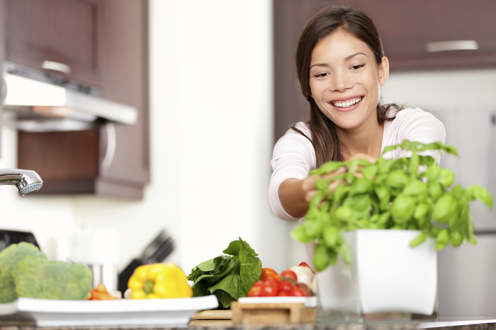 Woman making food in kitchen